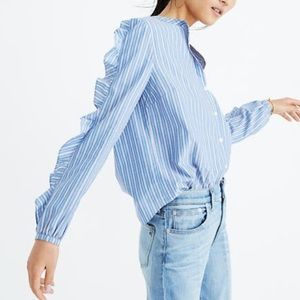 Madewell Striped Frill Sleeve Button Cotton Shirt